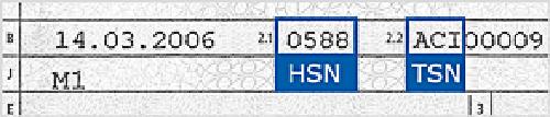 Zulassungsbescheinigung Teil 1 mit Herstellernummer und Typenschlüsselnummer